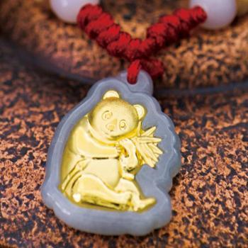 熊猫金镶玉项链 A货翡翠镶足金 生肖吉祥可爱卡通金锁宝宝配饰送红绳