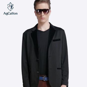 阿科登精致男士单西丝绒领二粒扣男士修身单西外套包邮