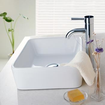 香港益谷卫浴(eogoo)高温烧制方形陶瓷面盆台上洗手盆 EG080101