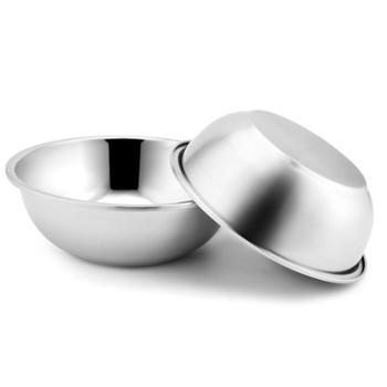 兴财不锈钢汤盆2只装圆形厨房家用盆子加厚汤盆打蛋盆