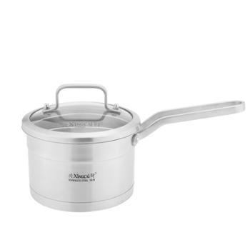 兴财单柄奶锅 304不锈钢汤锅三层复底汤锅煮锅 煲汤煮面16CM