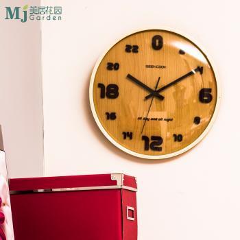 时尚创意风格 实木木框24小时壁钟 客厅卧室挂钟 木纹MDF钟面