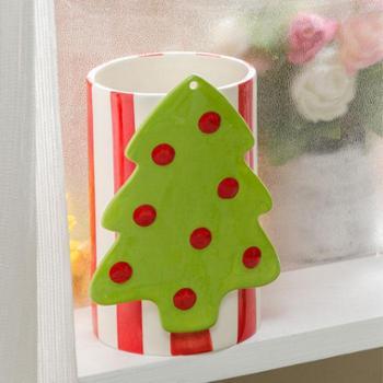 红色手绘陶瓷圣诞系列杯子花瓶
