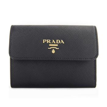 PRADA普拉达女式黑色牛皮钱夹1MH840QWAF0002