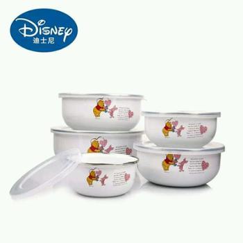 迪士尼搪瓷保鲜碗五件套 祝福维尼五入搪瓷碗 保鲜碗【橙屋尚品正品热销】