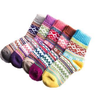 魅琪秋冬款民族风男女式袜子两双装