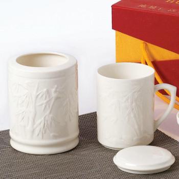 怀泉陶瓷浮雕办公两件套笔筒茶杯