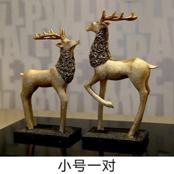 欧式时尚树脂麋鹿动物摆件家居样板房书房软装饰品工艺品摆设
