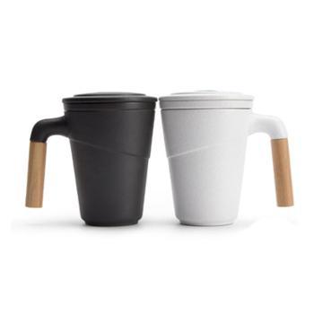 南山先生尚行马克杯定制带盖过滤茶杯家用陶瓷水杯办公室泡茶杯子