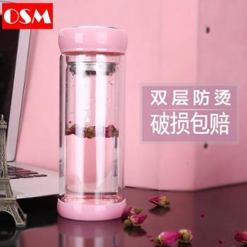 韩版玻璃杯双层便携隔热水杯女学生随手杯泡茶杯子家用定制印logo