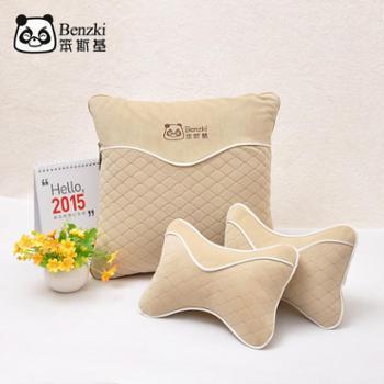笨斯基汽车抱枕被子两用绒棉材质可机洗靠枕组合抱枕腰靠垫多用途