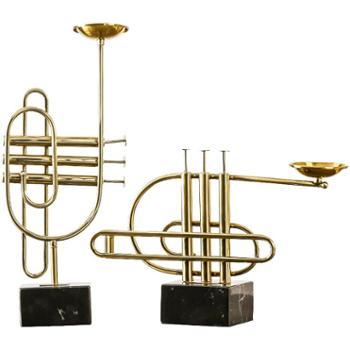 创意客厅弦乐器烛台欧式家居卧室*间现代玄关金属工艺品摆件