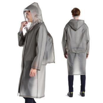 雨衣成人背包定制LOGO大码长款户外徒步旅游男女透明帽檐雨披外套