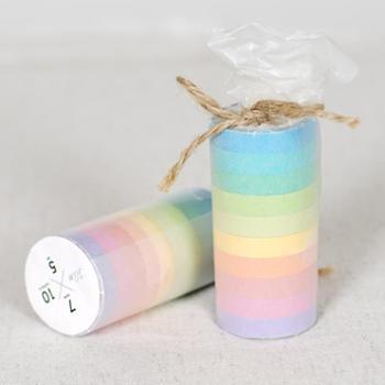 韩版创意糖果色胶带手帐DIY装饰贴可爱复古彩色胶条大卷胶带纸