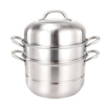 华创益304不锈钢蒸锅加厚复底蒸笼家用厨具