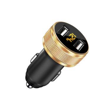 多功能闪充快速充电器数显车载点烟器二合一双USB金属车充