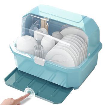 厨房沥水碗架带盖碗筷餐具收纳盒塑料碗碟架置物架收纳箱