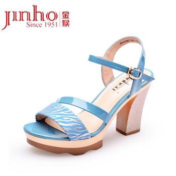 金猴jinhou夏季时尚休闲高跟羊皮女士凉鞋真皮凉鞋女SQ60004C/D/E
