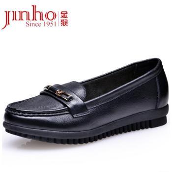 金猴 Jinho新品上市真皮牛皮时尚防滑女单鞋 舒适妈妈鞋Q50007A