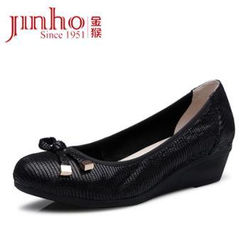 金猴 Jinho新品羊皮透气舒适女单鞋时尚显瘦坡跟女皮鞋Q59093A