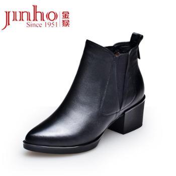 金猴 Jinho 高跟尖头百搭女裸靴 商务套脚女鞋 Q4990A