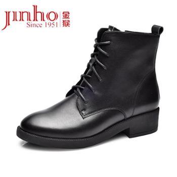金猴皮鞋女新款春秋季英伦系带皮靴商务休闲鞋马丁靴短靴女鞋Q45088A、Q45088G