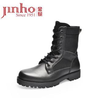 金猴男靴新款秋季皮靴系带平底中筒户外登山休闲鞋马丁靴男鞋SQ80019A