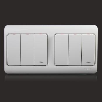 英国托邦正品墙壁开关插座-007欧式钢架经典玉白系列六位单控