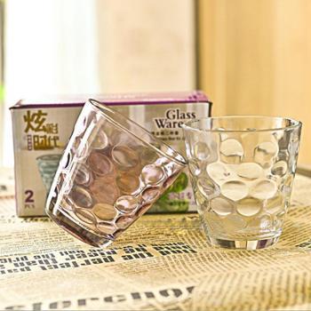 建行建行步行街支行O2O线下扫码专用 炫彩对杯雨点杯玻璃杯彩色透明玻璃杯