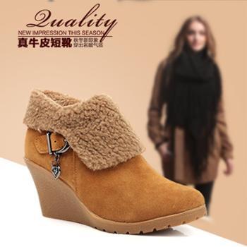 鞋星韩版潮流女单鞋 毛绒保暖磨砂真牛皮短靴时尚坡跟女鞋靴子矮靴