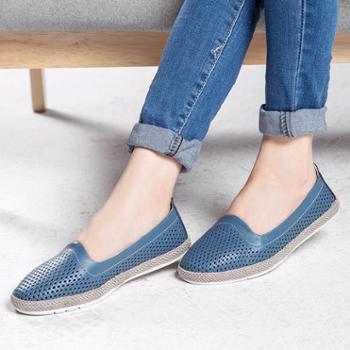 2018夏季新款舒适真皮女单鞋 女式渔夫鞋复古镂空休闲透气时尚皮鞋