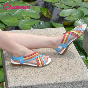 通用券优惠 鞋星夏季新款真牛皮女凉鞋 软底舒适女学生休闲凉鞋子包邮