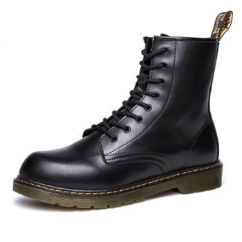 新品英伦风厚底机车靴户外高帮马丁鞋潮男工装靴通用个性男靴 668