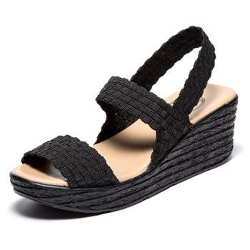 夏季编织女凉鞋 潮流一字带露趾时尚百搭坡跟厚底女鞋 SNT0075