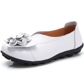 春夏款真皮花朵妈妈鞋舒适豆豆女鞋平底鞋女单鞋 xin988