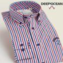 DEEPOCEAN2015秋装新款男长袖衬衫条纹时尚休闲纯棉修身型衬衣