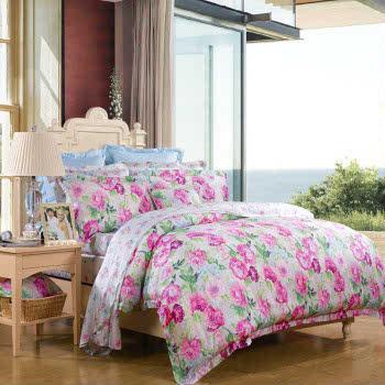 富安娜 家纺床上用品4件套 天丝四件套贡缎床单套件新品 樱姿艳逸