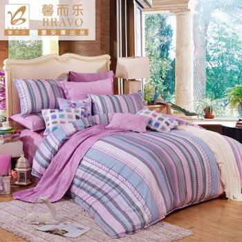富安娜馨而乐家纺纯棉四件套床上用品 彩衣