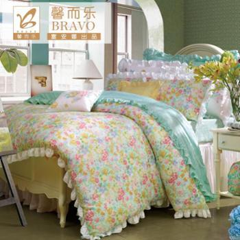 富安娜家纺馨而乐床上用品莱赛尔印花天丝床单四件套假日丽人