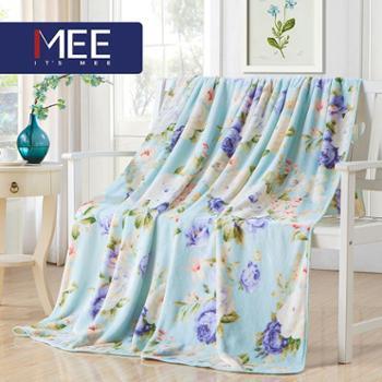 梦洁出品MEE贴肤透气植物花卉盖毯法兰绒毯泽西岛毯子办公室毯