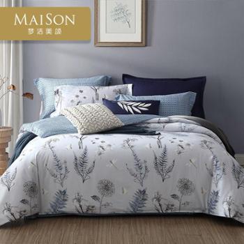 梦洁新品美颂纯棉四件套新中式简约全棉床上用品床单被罩兰亭浅雨
