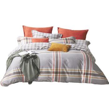 梦洁家纺美颂纯棉四件套条纹简约套件1.5/1.8m床被套诺曼底公爵