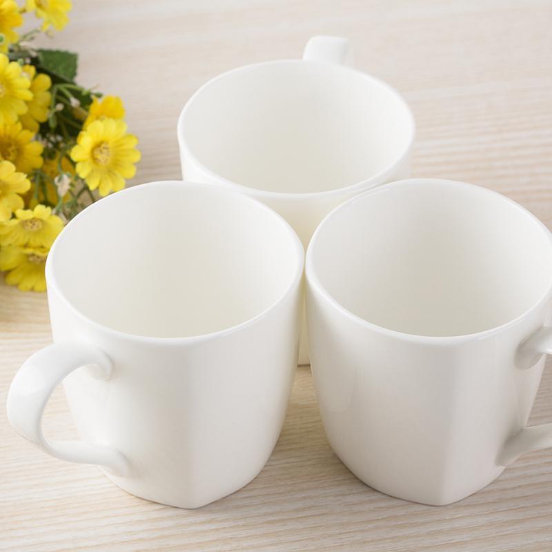 新款特价小方杯纯白杯子创意陶瓷水杯简约马克杯星巴克风骨瓷奶杯