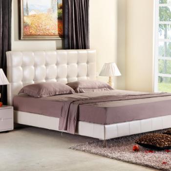 双人床 1.8米 软床 真皮 婚床 皮艺床 现代简约 海伦