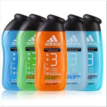 正品专柜阿迪达斯男士沐浴露250ML 洗发沐浴二合一运动后舒缓5款