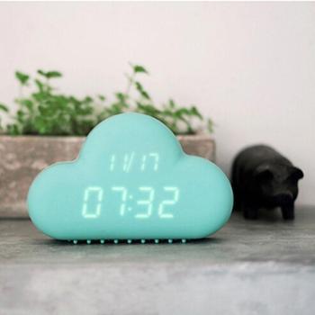 创意声控云朵闹钟拍拍静音时钟电子LED儿童学生智能贪睡闹钟挂钟