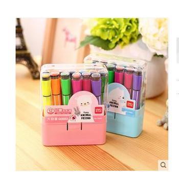 得力儿童无毒带印章可水洗水彩笔24色涂鸦绘画笔套一盒