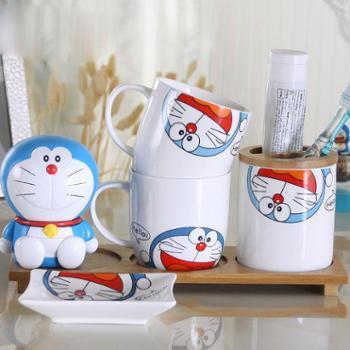 哆啦A梦创意牙具欧式洗漱套件浴室用品漱口杯陶瓷卫浴四件套装 样式可备注 不备注随意发货