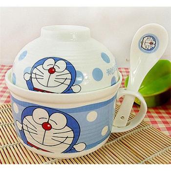 可爱陶瓷碗餐具套装机器猫泡面碗杯便当饭盒微波炉套碗带盖把手柄