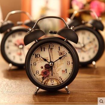 床头时尚懒人 打铃闹钟创意闹表台钟床头钟学生指针闹钟 金属闹钟